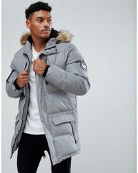 Good For Nothing - Parka In Reflective With Faux Fur Hood - Lyst