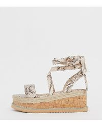 PrettyLittleThing Espadrille Flatform Sandals With Ankle Ties - Multicolour
