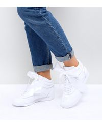 Reebok - Classic Freestyle Hi Satin Bow Trainers In White - Lyst
