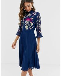 ASOS Embroidered Pleated Midi Dress With Fluted Sleeve - Blue