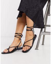 Truffle Collection Square Toe Tie Leg Flat Sandal-black