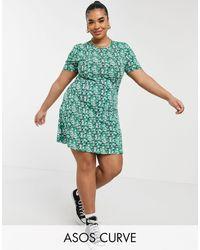 ASOS Vestido de tarde corto verde con estampado floral de ASOS DESIGN Curve