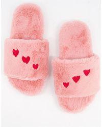 Monki - Розовые Слиперы Из Переработанных Материалов С Сердечками Cosy-розовый Цвет - Lyst