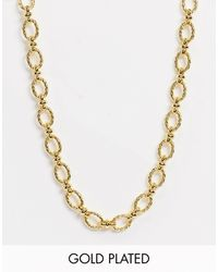 Astrid & Miyu T-bar Necklace With Oval Links - Metallic