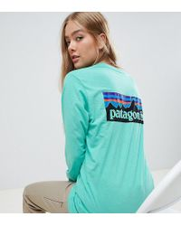 Patagonia - Oversized Long Sleeve P-6 Logo Responsibili-tee Top In Green - Lyst