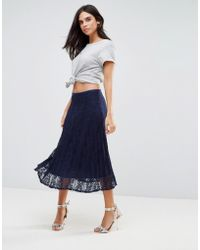 Liquorish - Pleated Lace Midi Skirt - Lyst