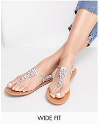 Miss Selfridge Wide Fit Elis Sandals - Metallic