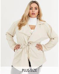 Boohoo Pratica giacca a portafoglio color pietra - Neutro