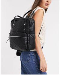 Stradivarius Quilted Backpack - Black