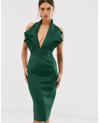 ASOS Halter Origami Side Zip Pencil Midi Dress - Green