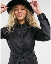 Vila Tie Waist Faux Leather Shirt - Black