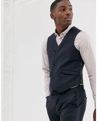 ASOS Slim Suit Waistcoat In Navy 100% Wool - Blue