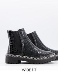 Truffle Collection Wide Fit Chunky Chain Ankle Boots - Black