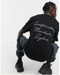 Good For Nothing T-shirt With Manchester Script Back Print - Black