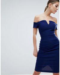 Vesper - Plunge Front Midi Pencil Dress - Lyst