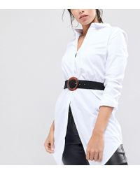 Retro Luxe London - Retro Luxe Soft Leather Waist Belt With Resin Circular Buckle - Lyst