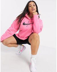 Nike Розовый Короткий Худи С Логотипом-галочкой