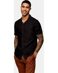 TOPMAN Camisa negra con solapas Considered - Negro