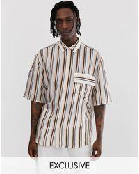 Noak Striped Oversized Shirt - White