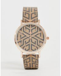 ASOS - Watch With Monogram Print And Gold Tone Case - Lyst