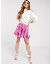 ASOS Sequin Pleated Mini Skirt - Pink