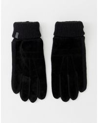 Esprit - Suede Gloves With Knitted Panels In Black - Lyst