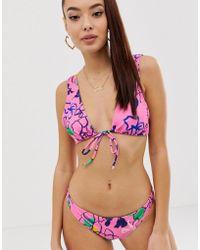 ASOS Kurz geschnittenes Bikinioberteil in Rosa mit floralem Sketchprint und tiefem Ausschnitt - Mehrfarbig