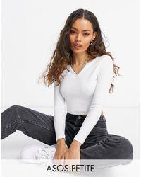 ASOS Asos Design Petite Long Sleeve Slim Fit Crop Top With Notch Neck - White