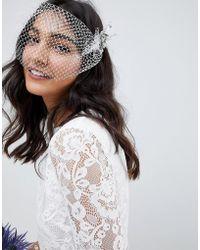 ASOS - Bridal Crystal Leaf Hair Clips And Veil - Lyst