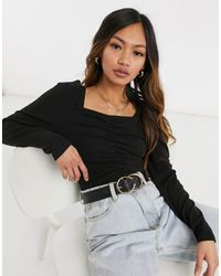 Y.A.S Long Sleeve Top With Sweetheart Neckline And Ruched Body - Black