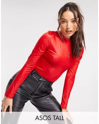 ASOS Asos Design Tall Halloween High Shine Bust Seam Bodysuit - Red