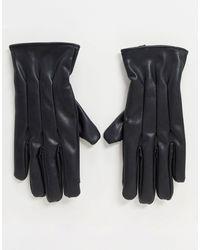 Jack & Jones Черные Перчатки Из Искусственной Кожи -черный