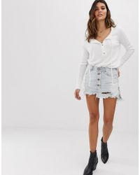 0d88ad114dc2 One Teaspoon - Button Detail Denim Mini Skirt With Exposed Buttons - Lyst