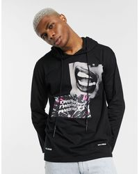 Religion Hooded Sweat With Mixed Graphic Print - Black
