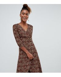 Monki Leopard Print Wrap Dress With Buttons - Brown