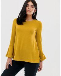 AX Paris Flared Sleeve Long Sleeve Blouse - Yellow
