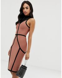 The Girlcode High Neck Bandage Midi Dress With Contrast Piping - Multicolour