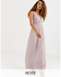 TFNC London Bridesmaid Halter Neck Maxi Dress With Lace Inserts - Brown
