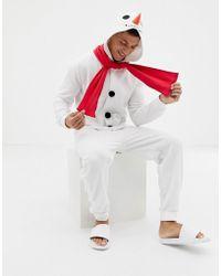 ASOS Holidays Snowman Onesie - White