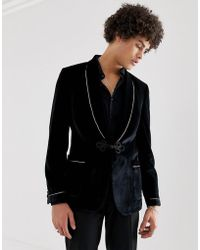 ASOS Skinny Blazer In Black Velvet With frogging