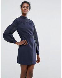 Keepsake - Embroidered Belle Sleeve Mini Dress - Lyst