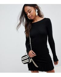 7ae03f5c74a ASOS - Asos Design Petite Scoop Back Mini Dress With Frill Hem - Lyst