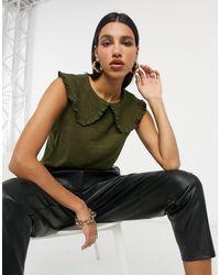 Vila Knitted Vest With Oversized Collar Detail - Black