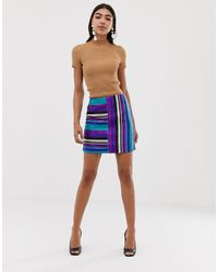 ASOS Rainbow Stripe Metallic Mini Skirt - Blue