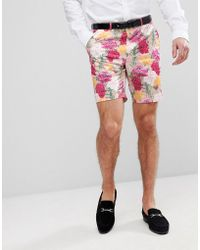 ASOS DESIGN - Asos Wedding Skinny Smart Shorts In Pink Floral Print - Lyst