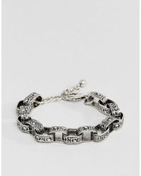 ASOS - Chunky Chain Bracelet With Emboss In Burnished Silver Tone - Lyst