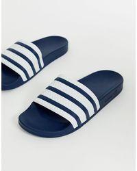 adidas Originals Шлепанцы С Темно-синими Полосками Adilette-темно-синий