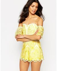 Foxiedox Quinn Lace Bardot Playsuit - Yellow