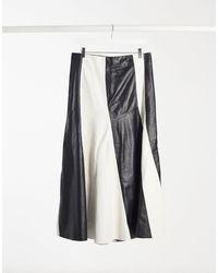 TOPSHOP Premium Pleated Leather Skirt - Black
