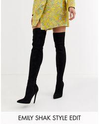 ASOS – Kendra – Oberschenkelhohe schwarze Stiefel mit Stilettoabsatz